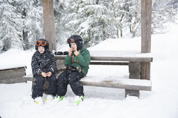 Sweden, Dalarna, Salen, Boys (6-7, 8-9) wearing helmets and goggles sitting on bench surrounded by winter landscape