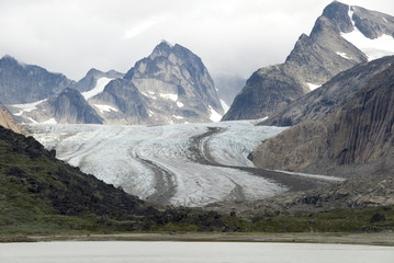 Outlet glacier descending from main ice sheet, along north side of Prins Christian Sund, southern tip of Greenland, Polar Regions