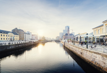 Sweden, Oresund Region, Skane, Malmo, Bagers plats, Malmo Live concert hall and Central Station by river