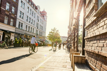 Sweden, Skane, Malmo, Mollevangen, Street in old town on sunny day