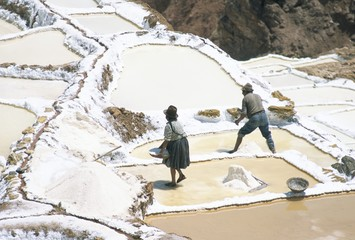 Inca salt pans below salt spring, Salineras de Maras, Sacred Valley, Cuzco region (Urabamba), Peru, South America