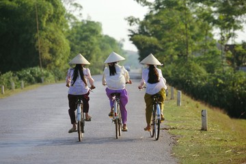 Three girls in conical hats cycling on rural road north of Hanoi, Bac Thai Province, Vietnam, Indochina, Southeast Asia, Asia
