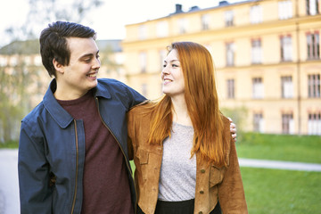 Sweden, Uppland, Stockholm, Kungsholmen, Couple smiling outdoors