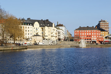 Sweden, Sodermanland, Sodertalje, City buildings at waterfront