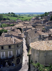 View of the town, St. Emilion, Gironde, Aquitaine, France, Europe