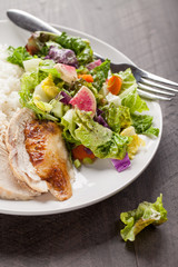 Italian salad with rotisserie chicken and white rice dinner on a plate