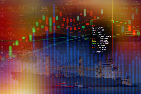 Double exposure of stocks market chart concept with International Container Cargo ship in the ocean, Freight Transportation, Shipping, Nautical Vessel