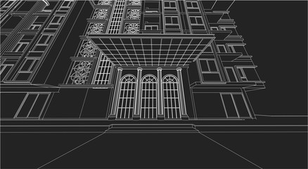 architecture abstract, 3d illustration, vector