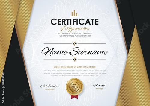"Elegant Marriage Certificate Template Golden Edition: ""certificate Template With Luxury Golden Elegant Pattern"