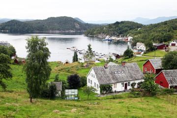 Harbour and farmhouses on Island of Borgundoya, Hardangerfjord, Norway, Scandinavia, Europe