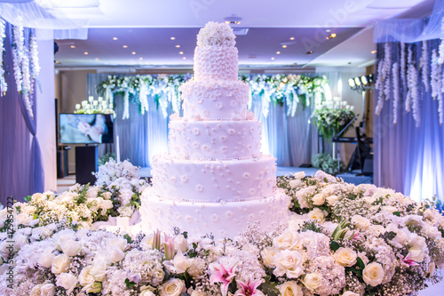 A Beautiful Wedding Cake With Decoration At Wedding Reception Room