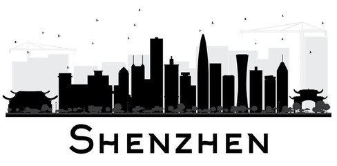 Shenzhen City skyline black and white silhouette.