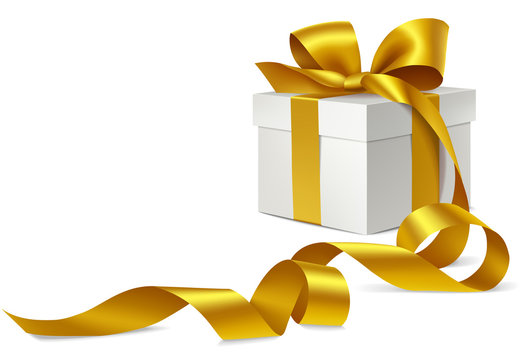 Decorative gift box with golden bow and long ribbon. Vector illutration