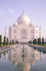 The Taj Mahal, UNESCO World Heritage Site, reflected in the Lotus Pool, Agra, Uttar Pradesh, India, Asia