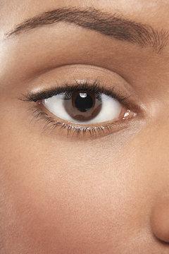 Macro image of African American woman's beautiful eye