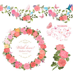 floral collection with roses.  seamless border and cute wreath f