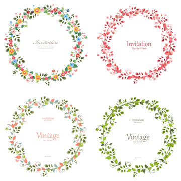 romantic floral collection of wreaths for your design.