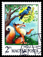 Postage stamp.  The Fox and the Crow.