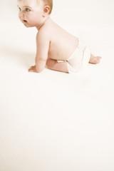 Full length of baby boy isolated on white background