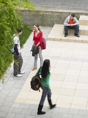 High angle view of teenage students in university campus