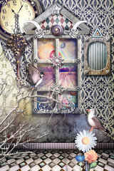 Garden Poster Imagination Fantastic interior with clock and window on Wonderland