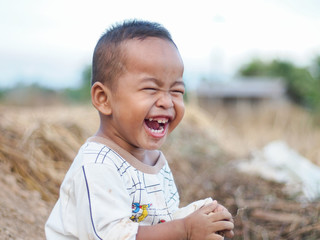 Children laughing happiness