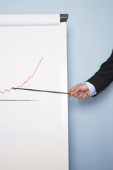 Businessman pointing at graph on flip chart against blue wall