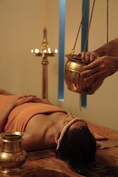 Shirodhara treatment at the Quan Spa at the Marriott Hotel in Mumbai