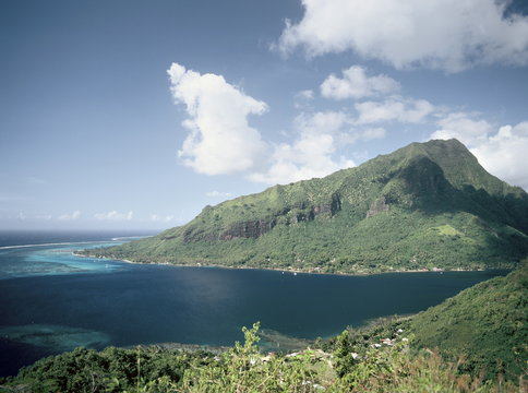 View of the mouth of Cook's Bay, Moorea, Society Islands, French Polynesia, South Pacific