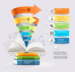 Books step education cone infographics. Vector illustration. Can