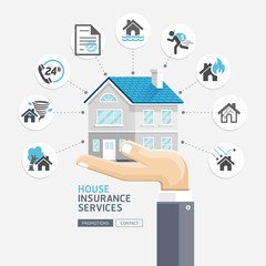 House insurance services. Business hands holding house. Vector I
