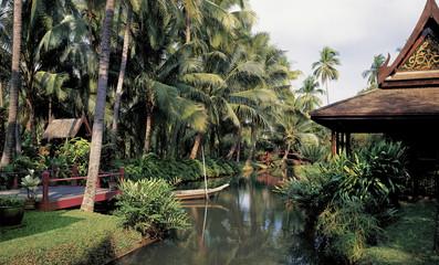 A garden in Bangkok with a Thai style sala, Bangkok, Thailand, Southeast Asia, Asia
