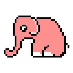 pixel art pink elephant