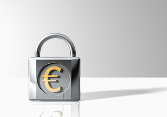 Padlock with euro symbol over grey background