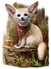 Fennec watercolor painting
