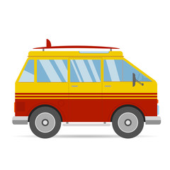 Vintage red yellow travel bus surfing cartoon van in flat design