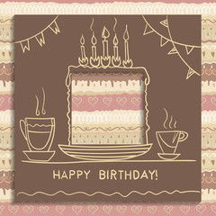 Concept of birthday card. Paper square with hole cut out and handwritten drawing of holiday cake, biscuit with candles. Seamless decorative pattern of coffee colors on the background.