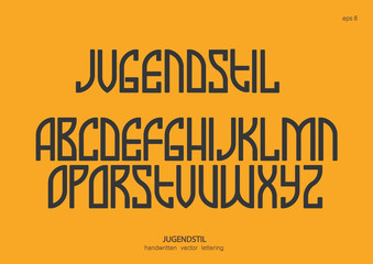 Vector alphabet set. Capital letters in the Art Nouveau style, Egyptian graphics. Black letters on a yellow background.