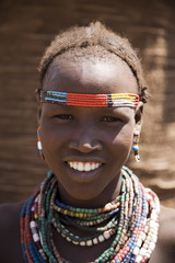 Portrait of a girl of the Galeb tribe, Lower Omo Valley, Ethiopia, Africa