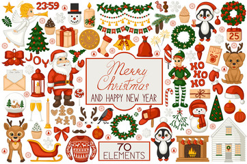 Christmas set in cartoon style. Cute Santa, elf, penguin, angel and reindeer. Christmas tree, fireplace, bells, balls, candles, gifts and other Christmas symbols. Isolated icons on white background.