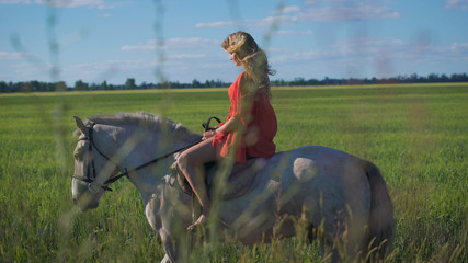 Beautiful blonde girl riding a horse at a countryside