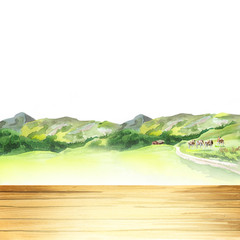 Table in a landscape. Watercolor template and background