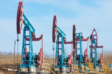 oil pump. Oil industry equipment. filtered picture of oil pump ecology, bionomics. Oil pumps. Oil industry equipment. Beam Pump