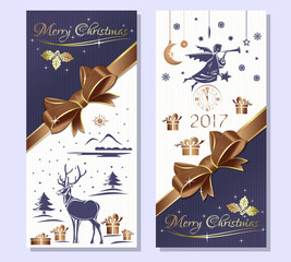Merry Christmas 2017.  Purple greeting Christmas card with gift box, gold ribbon and bow, reindeer in a snowy winter forest, Christmas angel and antique clock . Vector flyer template