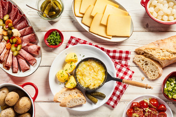 Delicious Swiss raclette cheese buffet