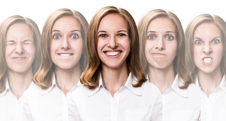 Young girl changes her face portraits.