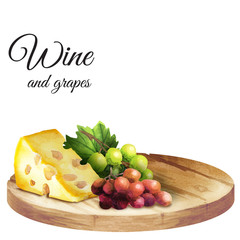 Background for your products with a table, cheese and grapes. Watercolor