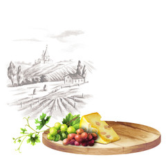Background for your products with a table, grapes and landscape