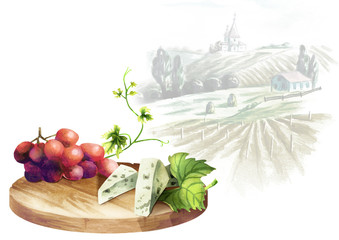 Background for your products with a table, grapes, cheese and landscape