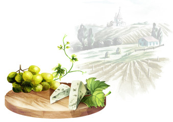 Background for your products with a table, white grapes, cheese and landscape